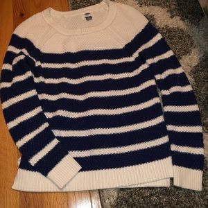 Navy blue and shite striped sweater